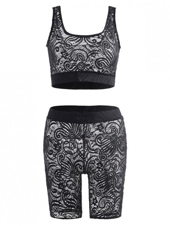 women's Lace Bralette Lingerie Set - BLACK S