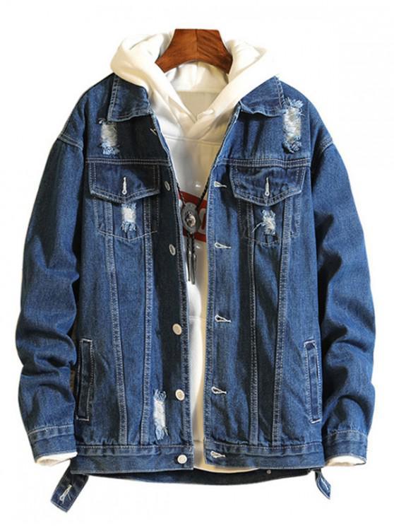 ladies Casual Destroy Wash Ripped Denim Jacket - DENIM DARK BLUE XS