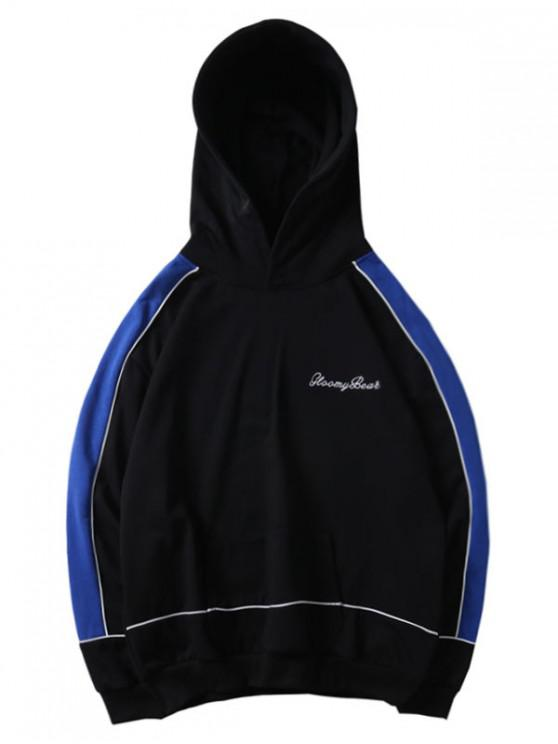 fashion Letter Embroidery Color Spliced Pullover Hoodie - BLACK M