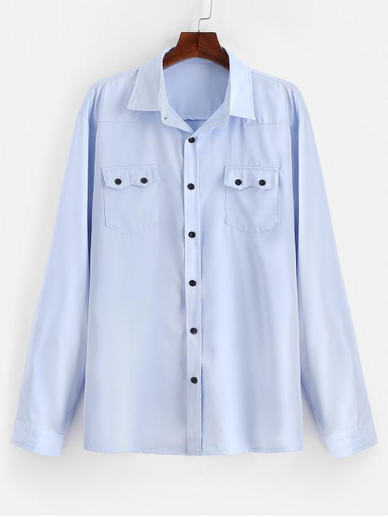 Camisa casual de bolsillos con solapa en el pecho - Azul Claro 2XL