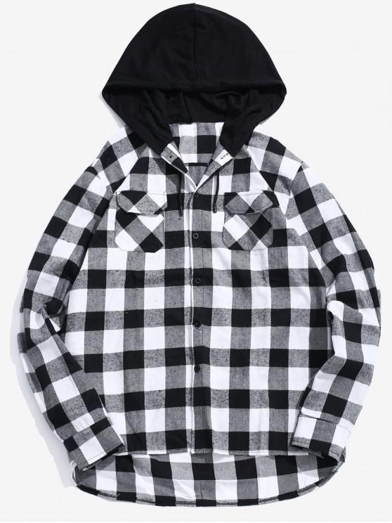 Pocket Hood Patchwork Camisa a cuadros - Negro 2XL