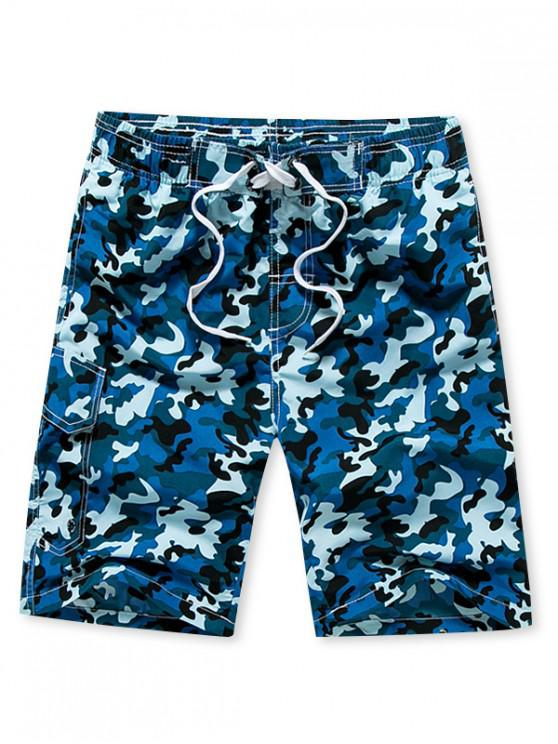 shop Camouflage Print Elastic Drawstring Shorts - BLUE L