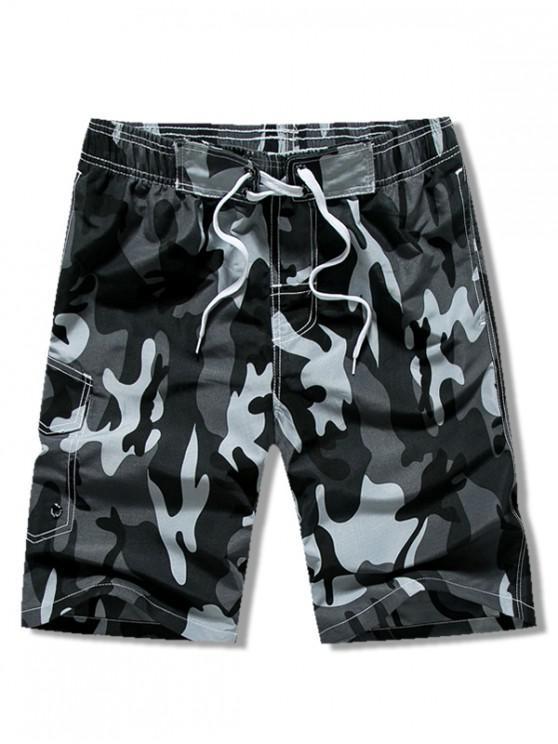 new Camouflage Print Drawstring Casual Shorts - GRAY S