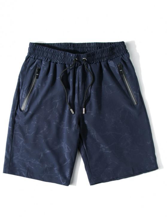 Água Impresso Calções de Praia Casual - Azul Escuro XS