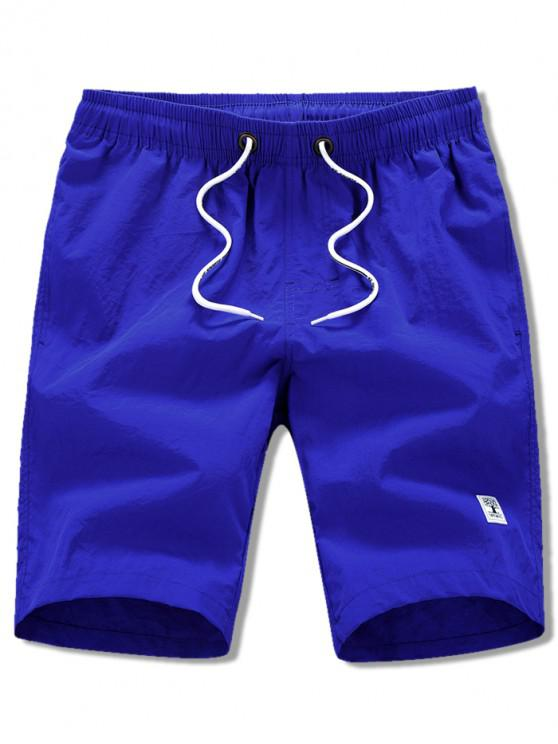 latest Appliques Solid Color Drawstring Beach Shorts - BLUEBERRY BLUE XS