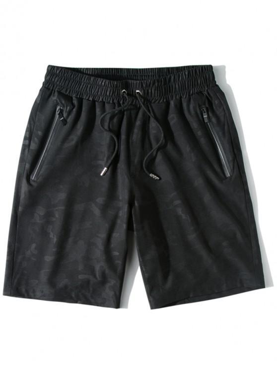 buy Zipper Pockets Casual Drawstring Shorts - BLACK XS