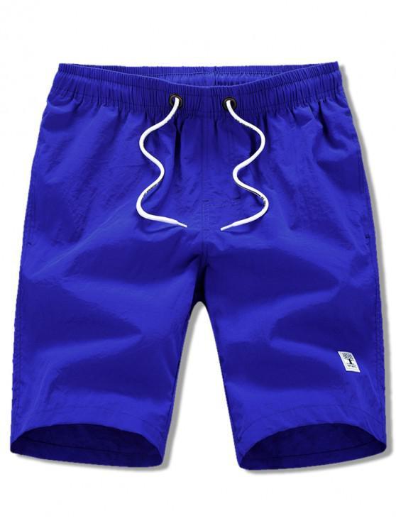 sale Appliques Solid Color Drawstring Beach Shorts - BLUEBERRY BLUE M
