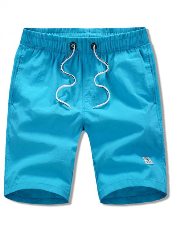 best Appliques Solid Color Drawstring Beach Shorts - BLUE XS