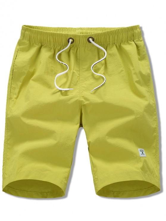 latest Appliques Solid Color Drawstring Beach Shorts - YELLOW L
