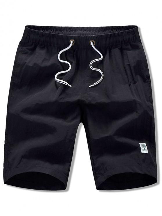 Apliques de cor sólida Drawstring Beach Shorts - Preto M