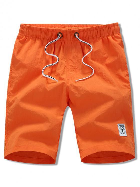 lady Appliques Solid Color Drawstring Beach Shorts - ORANGE L
