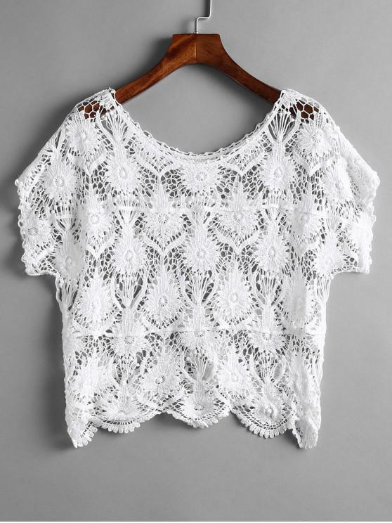 shop Scalloped Crochet Top - WHITE ONE SIZE