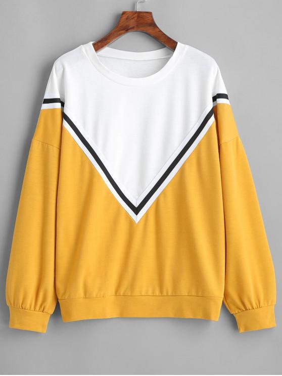 hot Stripes Panel Contrasting Sweatshirt - GOLDEN BROWN S