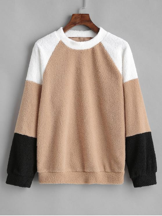 chic Raglan Sleeve Color Block Teddy Sweatshirt - TAN M