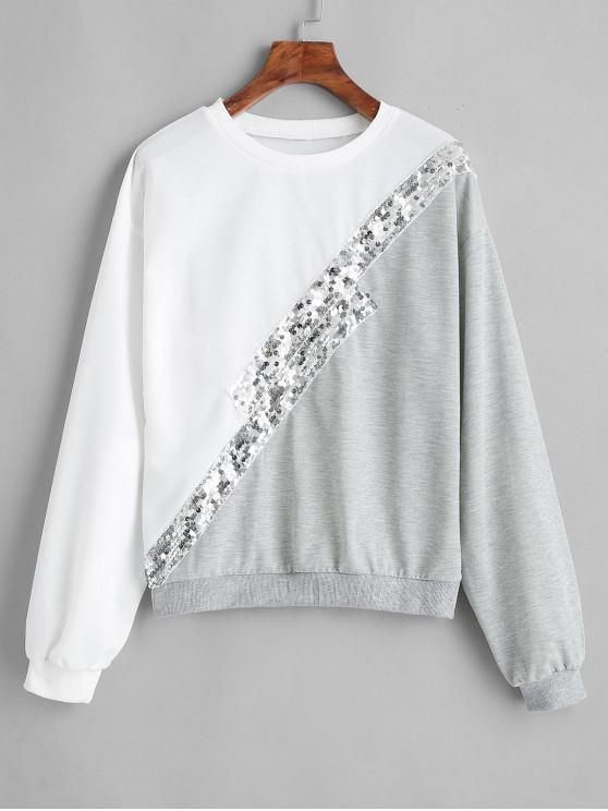 Sweat-shirt Bicolore à Paillette - Blanc Lait S