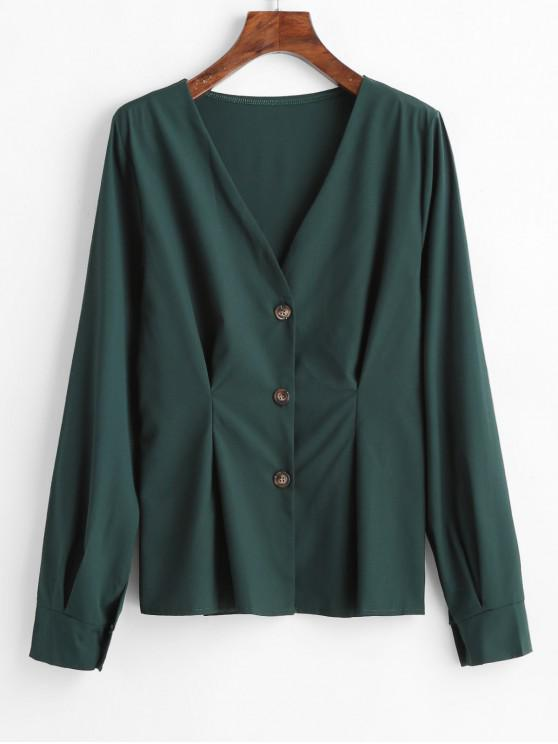 buy V Neck Button Up Top - MEDIUM SEA GREEN L