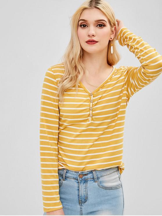 women's Long Sleeve V Neck Striped Tee - MULTI M