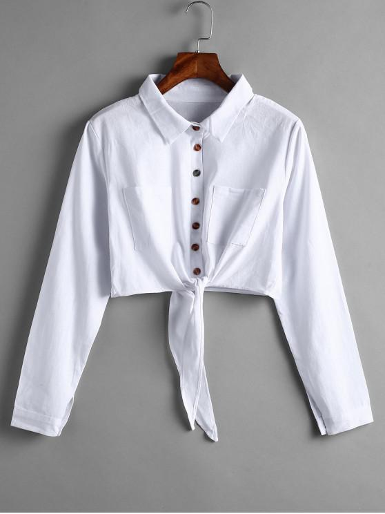 ladies Button Up Tie Hem Cropped Shirt - WHITE L