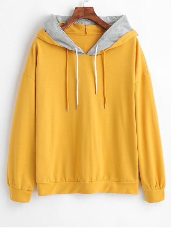 fashion Drawstring Drop Shoulder Layered Hoodie - GOLDEN BROWN L
