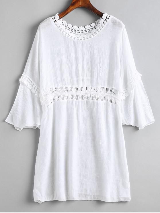 women's Crochet Panel Beach Dress - WHITE ONE SIZE