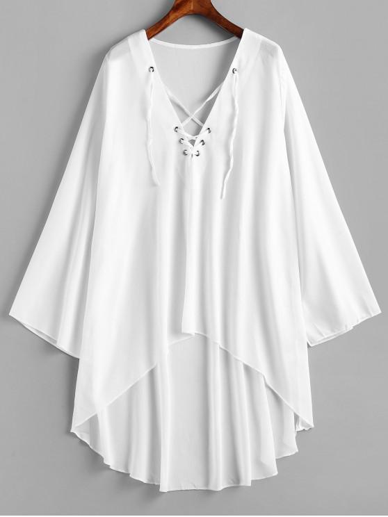 chic Lace-up Chiffon High Low Dress - WHITE 2XL