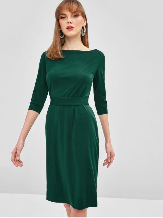 women Belted Bodycon Knee Length Dress - MEDIUM SEA GREEN L