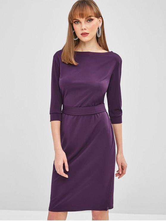 best Belted Bodycon Knee Length Dress - PLUM PURPLE L