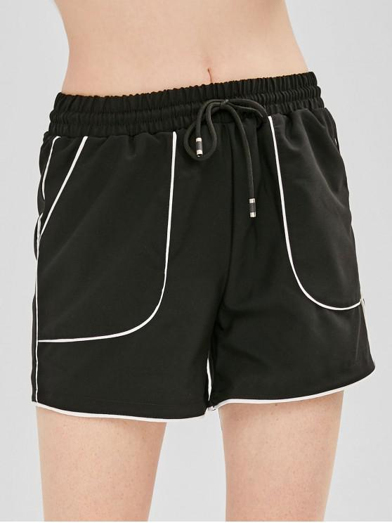 fashion Drawstring Contrast Piping Pocket Shorts - BLACK M