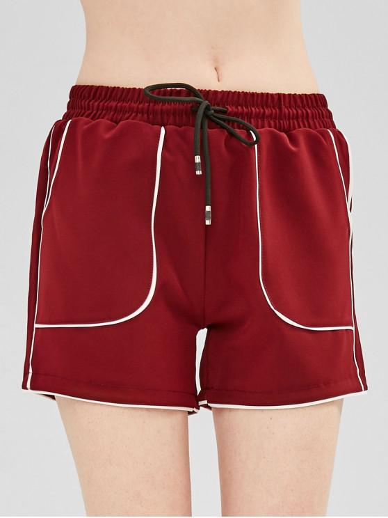 unique Drawstring Contrast Piping Pocket Shorts - FIREBRICK XL