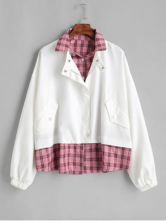 fashion Plaid Panel Zip Up Jacket - MILK WHITE M