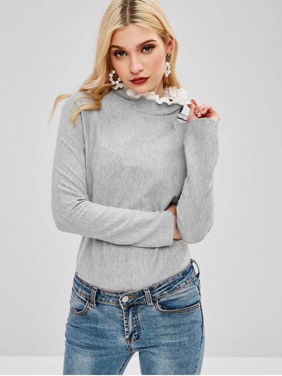 chic Long Sleeve Knit Ruff Collar Tee - GRAY XL