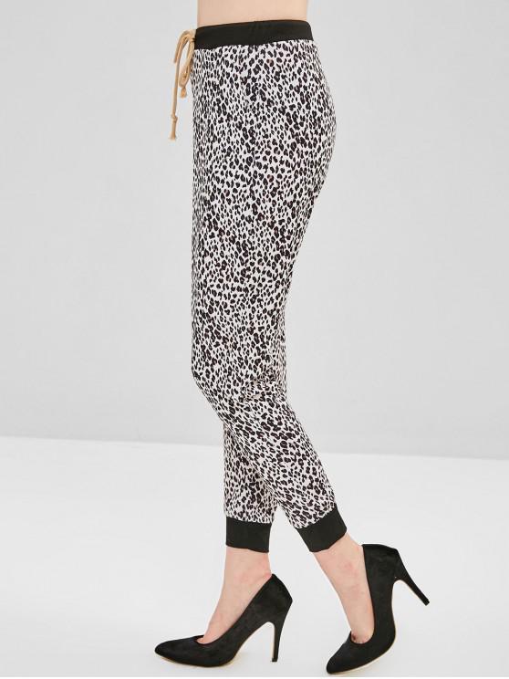 sale Pocket Drawstring Leopard Jogger Pants - LEOPARD L