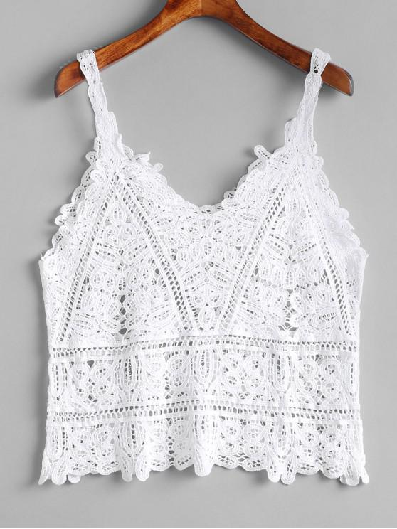 Camiseta sin mangas de crochet calado - Blanco Talla única