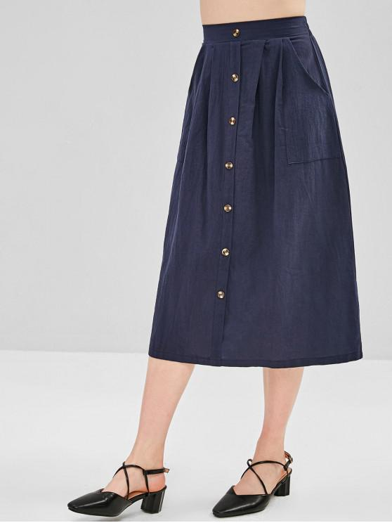 69715808d5 43% OFF] 2019 Hip Pockets A Line Midi Skirt In MIDNIGHT BLUE | ZAFUL