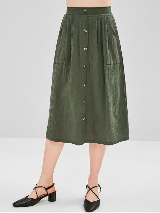 outfits Hip Pockets A Line Midi Skirt - ARMY GREEN L