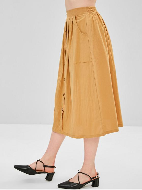 shop Hip Pockets A Line Midi Skirt - CINNAMON S