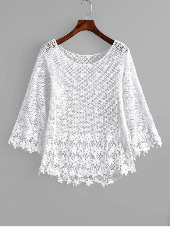 latest Floral Crochet Top - WHITE ONE SIZE