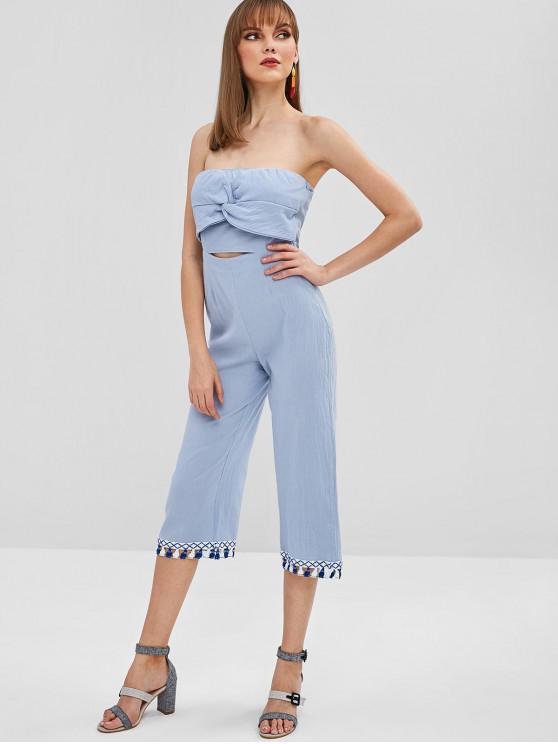 unique Tassels Twist Front Wide Leg Jumpsuit - BABY BLUE XL