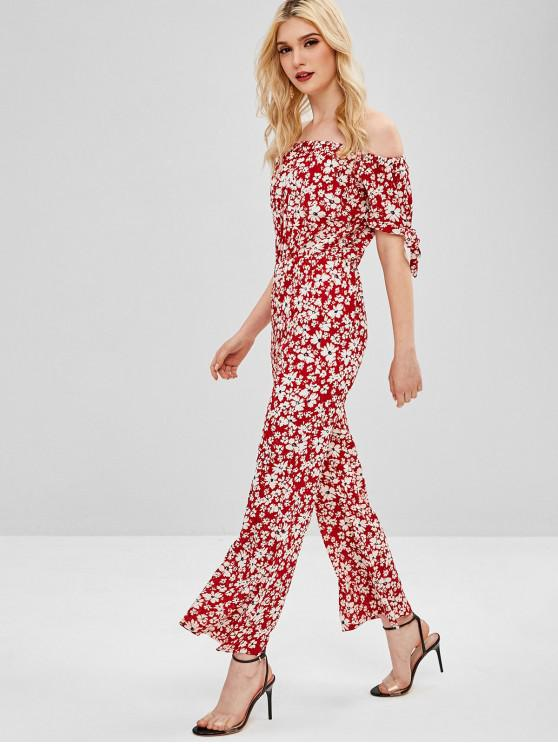 22ca732a056 22% OFF  2019 Floral Knotted Off Shoulder Jumpsuit In RED