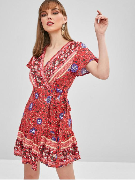 womens Flower Flounce Wrap Dress - RED M