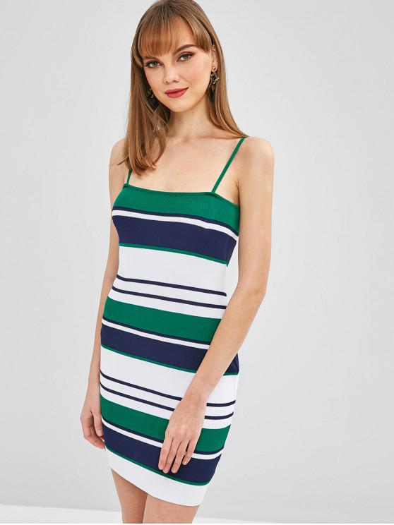 outfit Cami Striped Mini Bodycon Dress - LIGHT SEA GREEN M