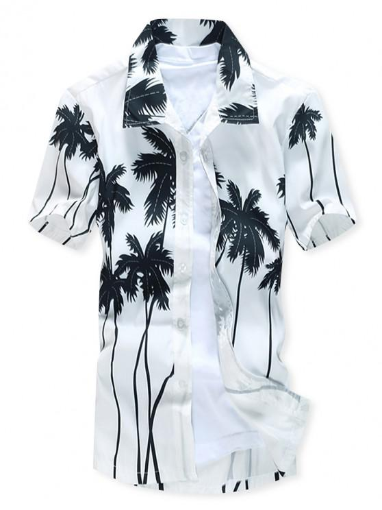 Kurzärmliges Hawaii Beach Shirt mit Kokospalmen-Aufdruck - Weiß XS
