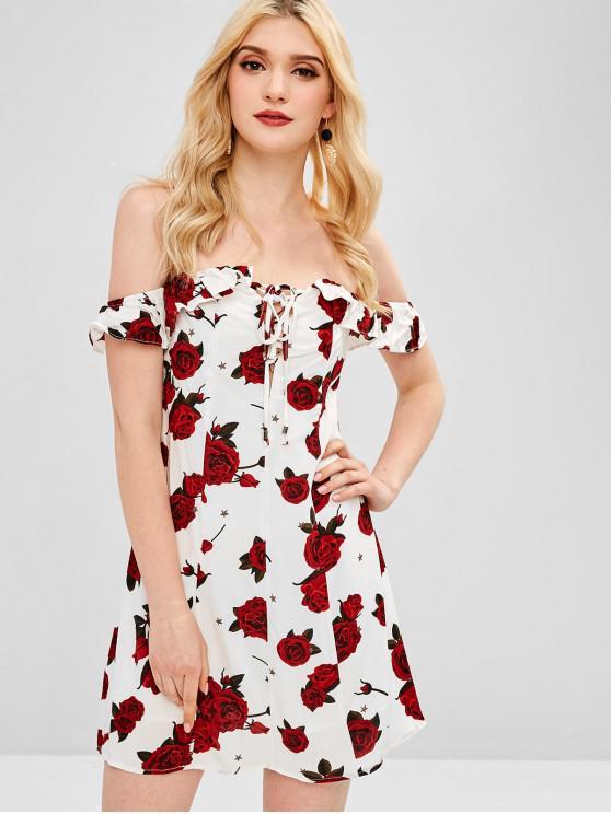 women Rose Print Off Shoulder Lace Up Dress - WHITE S
