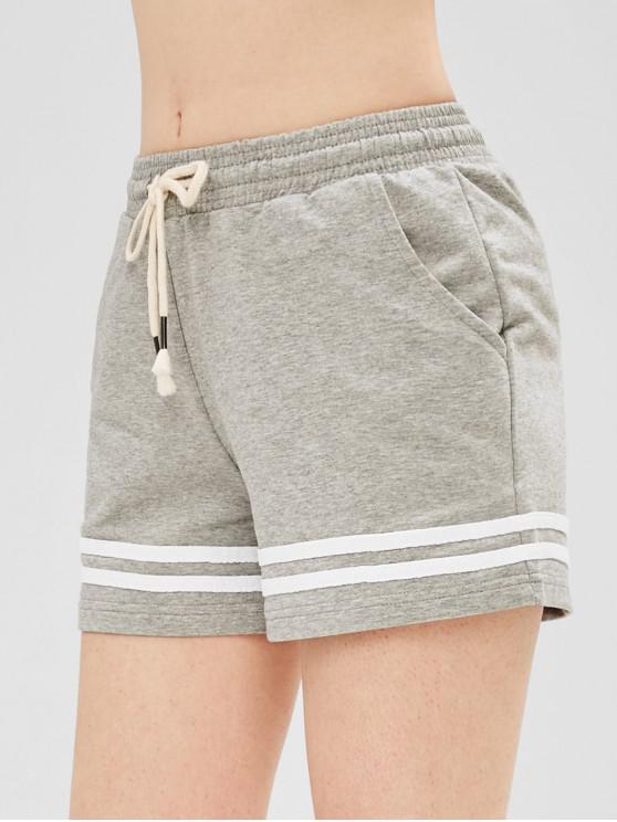 best Striped Pocket Drawstring Shorts - GRAY GOOSE XL