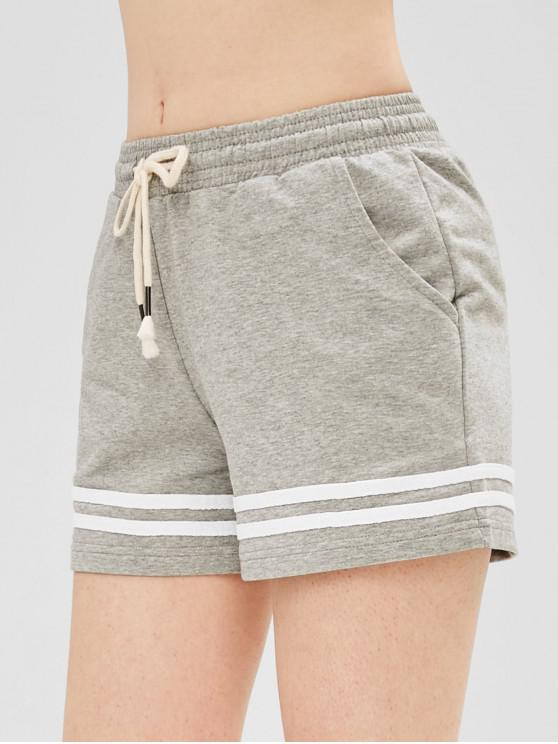 shop Striped Pocket Drawstring Shorts - GRAY GOOSE S