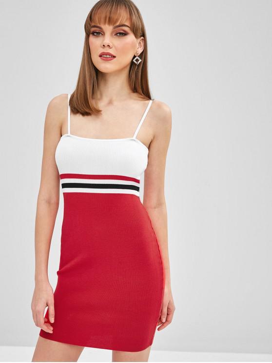 Mini vestido listrado de cami - Vermelho S