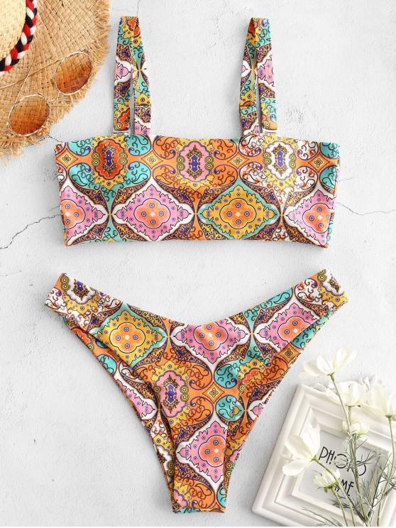 outfit ZAFUL Ethnic Graphic Square Neck Bikini Set - MULTI-A L