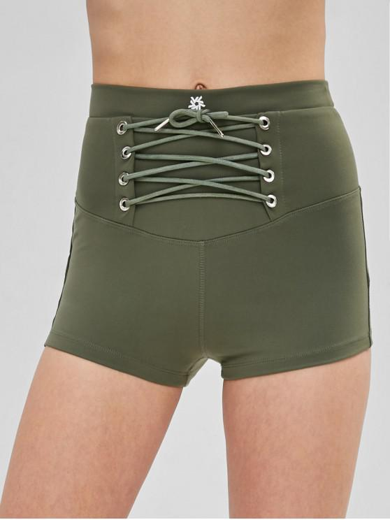 latest Lace Up High Waisted Shorts - ARMY GREEN S