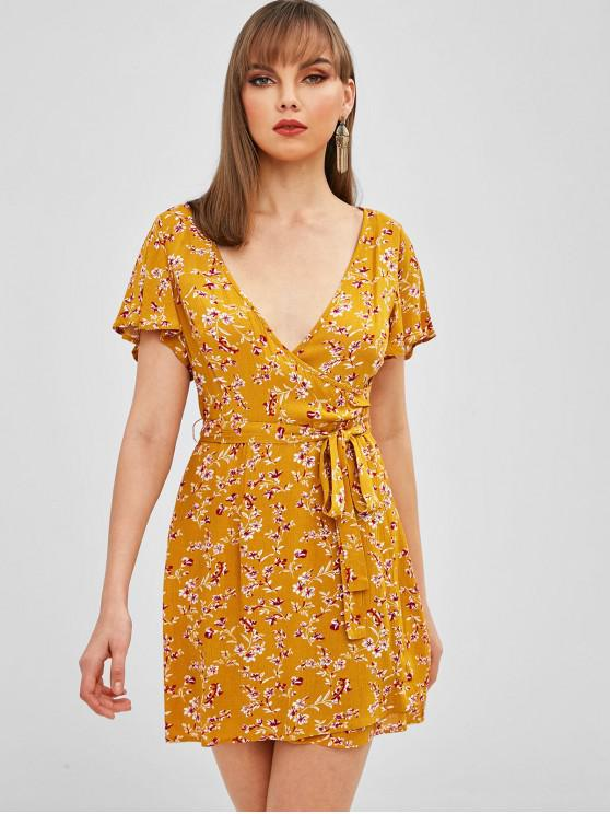 affordable ZAFUL Floral Surplice Butterfly Sleeve Dress - ORANGE GOLD M