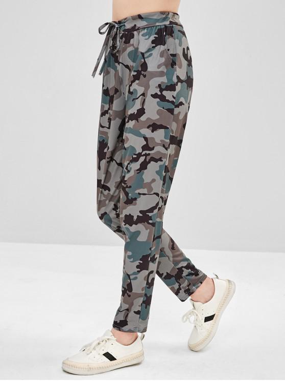 women Drawstring Camo Pocket Pants - ACU CAMOUFLAGE S
